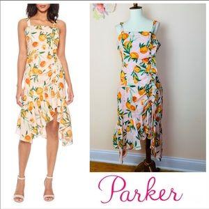New! Parker Millie Orange Print Linen Ruffle Dress